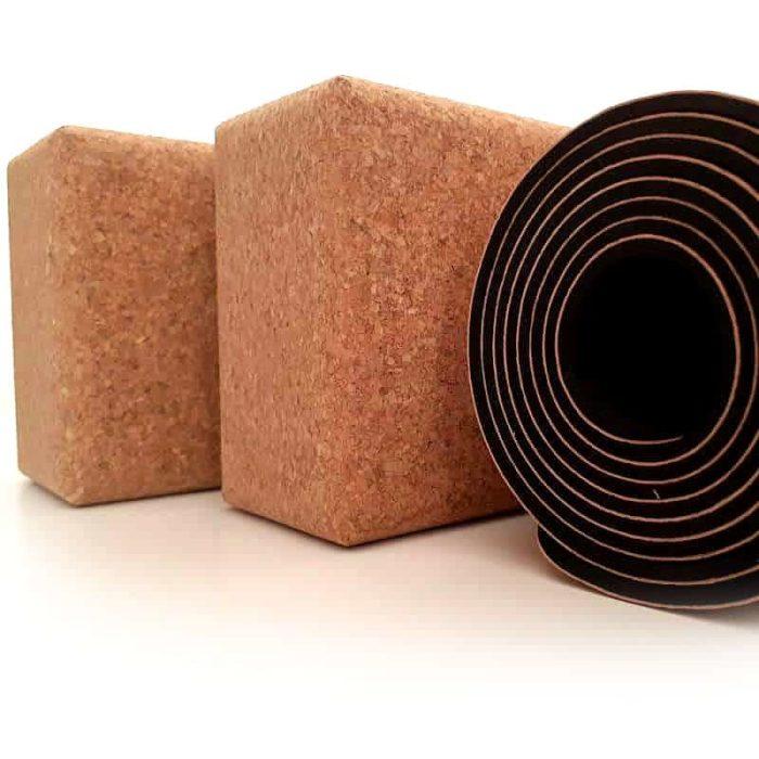 Eco-friendly yoga gear: cork yoga mat + cork yoga bricks